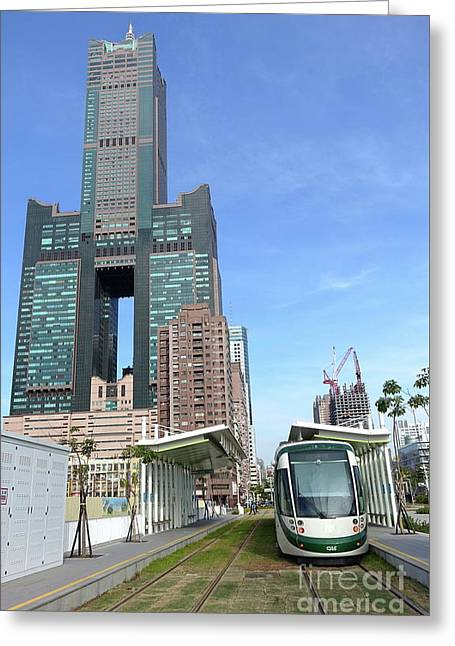 Greeting Card featuring the photograph The New Kaohsiung Light Rail Train by Yali Shi