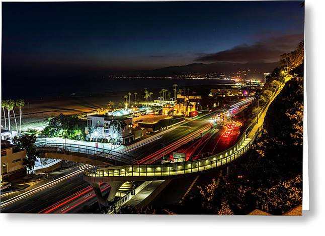 The New P C H Overpass - Night Greeting Card