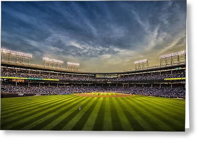 The New Wrigley Field With Pretty Sunset Sky Greeting Card by Sven Brogren
