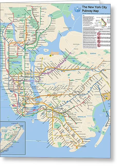 The New York City Pubway Map Greeting Card by Unquestionable Taste