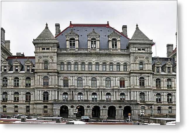 Greeting Card featuring the photograph The New York State Capitol In Albany New York by Brendan Reals