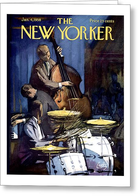 The New Yorker Cover - January 4th, 1958 Greeting Card