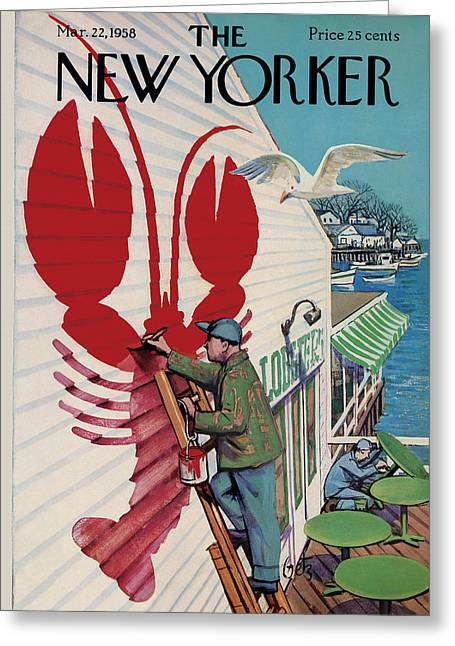 The New Yorker Cover - March 22, 1958 Greeting Card