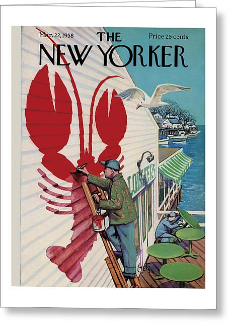 The New Yorker Cover - March 22nd, 1958 Greeting Card
