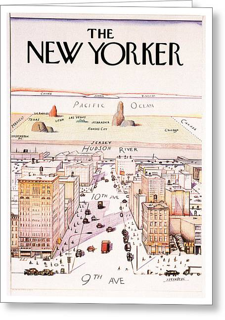 The New Yorker - Magazine Cover - Vintage Art Nouveau Poster Greeting Card
