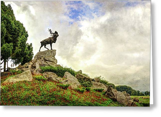 The Newfoundland Caribou And The Trenches - Vintage Version Greeting Card by Weston Westmoreland