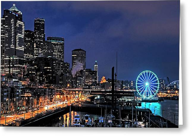 The Night Before Super Bowl Xlix, 2014, Seattle Waterfront Greeting Card by Greg Sigrist