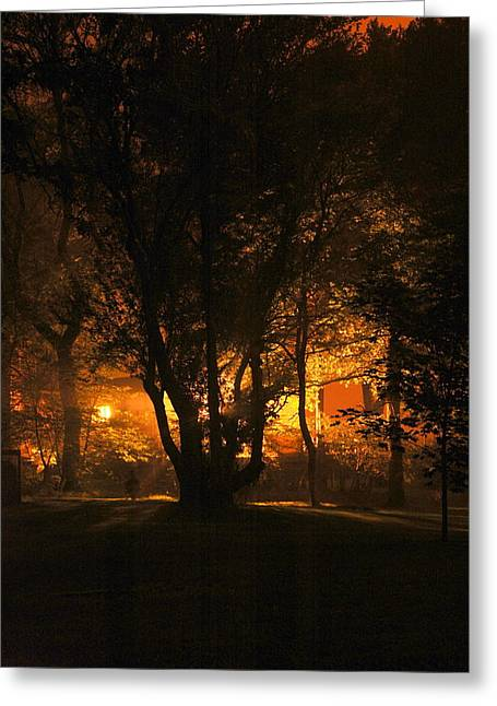 The Night Glows Greeting Card by Megen McAuliffe