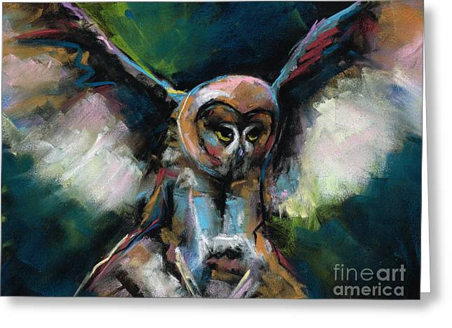 The Night Owl Greeting Card by Frances Marino