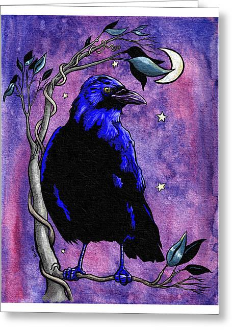 The Night Raven Greeting Card by Baird Hoffmire