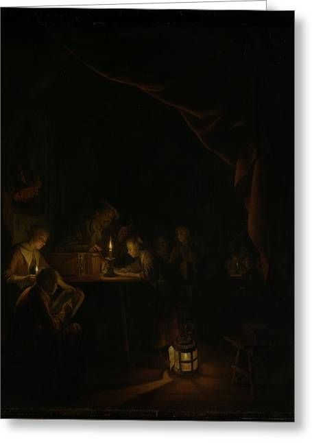 The Night School Greeting Card by Gerard Dou