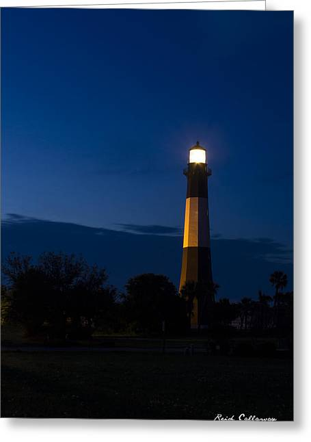 The Night Watcher Tybee Island Lighthouse Greeting Card by Reid Callaway