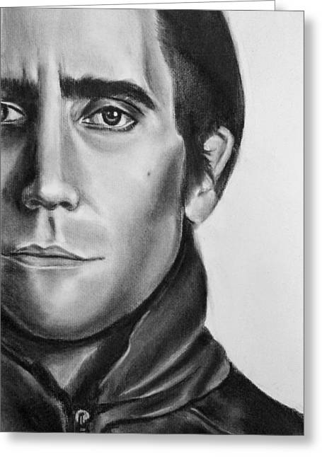 Nightcrawler Movie Art Drawing - Jake Gaalynhaal Charcoal Pencil Drawing - Ai P. Nilson Greeting Card