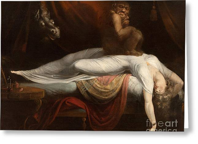 Reds Greeting Cards - The Nightmare Greeting Card by Henry Fuseli