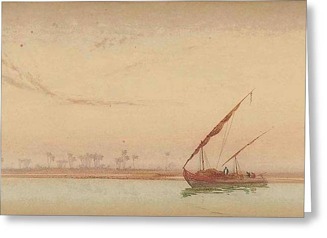 The Nile At Philae Greeting Card by Augustus Osborne