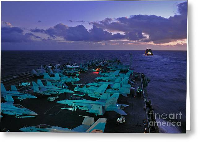 The Nimitz-class Aircraft Carrier Uss Abraham Lincoln Greeting Card by Celestial Images