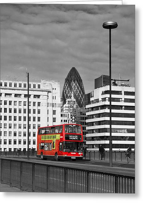 The No 43 To London Bridge Greeting Card by Hazy Apple
