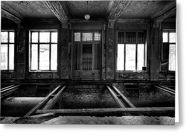 The No Floor Dance Room - Urban Exploration Abandoned Building Greeting Card