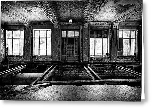 The No Floor Dance Room - Urban Exploration Abandoned Hotel Buil Greeting Card