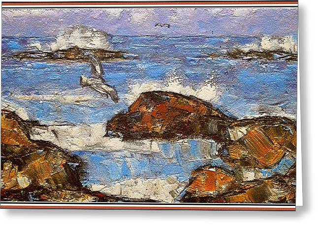 Greeting Card featuring the painting The Noise Of The Waves 3 by Pemaro