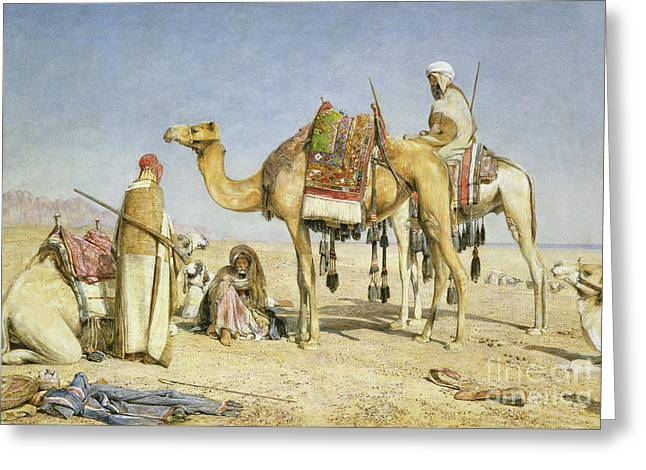 The Noonday Halt Greeting Card by John Frederick Lewis