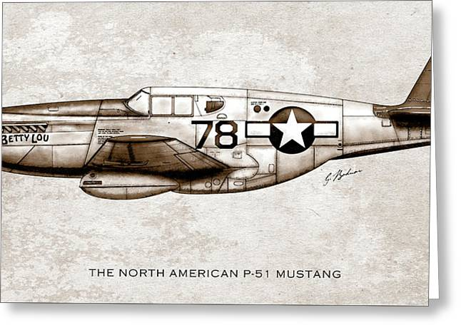 The North American P-51 Mustang Greeting Card by Gary Bodnar