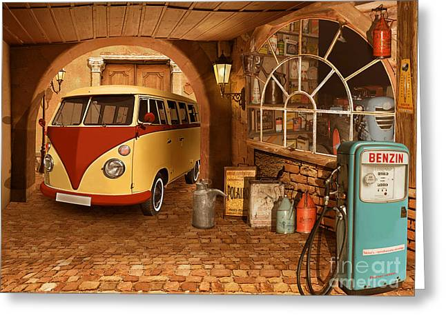 The Nostalgic Garage With Bulli Greeting Card