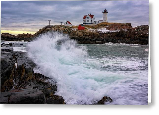 The Nubble After A Storm Greeting Card by Rick Berk