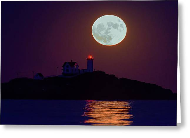The Nubble And The Full Moon Greeting Card