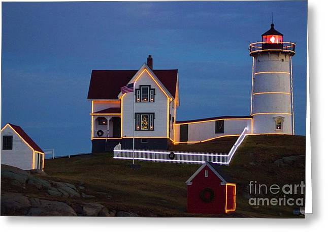 The Nubble At Christmas Greeting Card by Alice Mainville