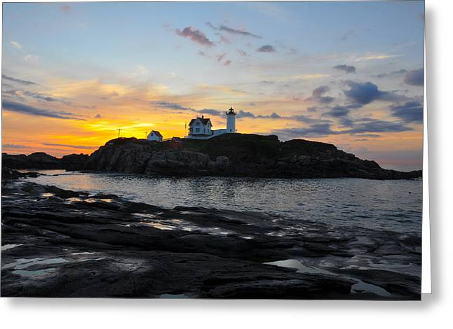 The Nubble Light Greeting Card by Catherine Easton