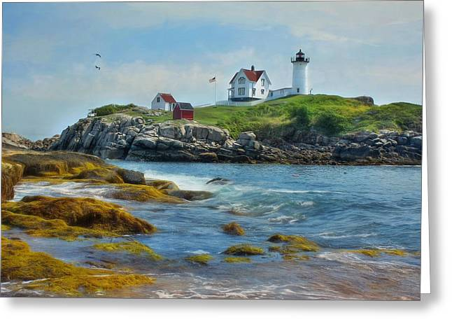 The Nubble Lighthouse Greeting Card by Lori Deiter
