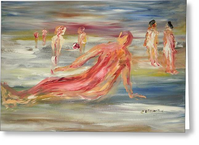 The Nude Beach Greeting Card by Edward Wolverton