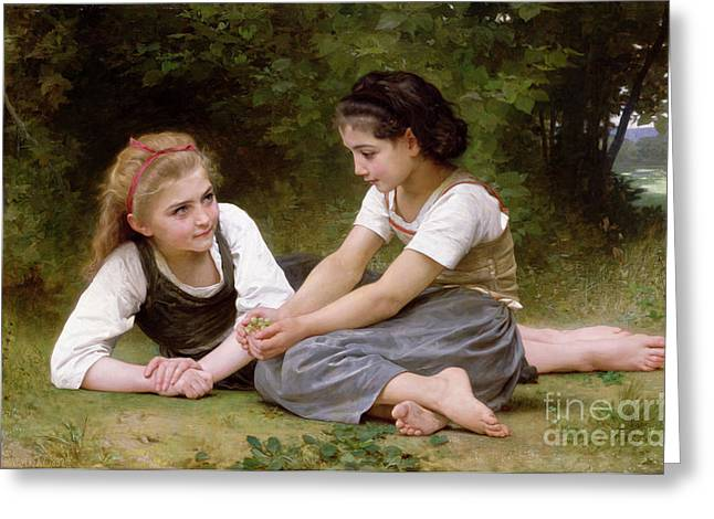 Childhood Greeting Cards - The Nut Gatherers Greeting Card by William-Adolphe Bouguereau