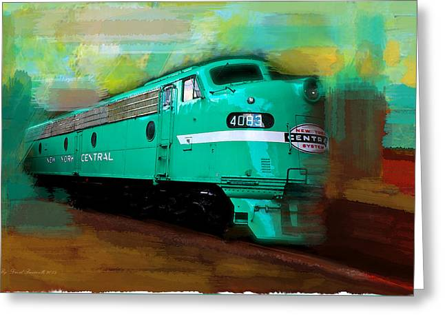 Flash II  The Ny Central 4083  Train  Greeting Card by Iconic Images Art Gallery David Pucciarelli