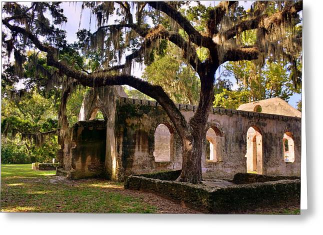 The Oaks At Chapel Of Ease St. Helena Island Beaufort Sc Greeting Card by Lisa Wooten