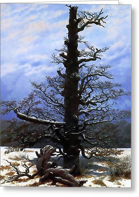The Oaktree In The Snow Greeting Card by Media Impasto Paper