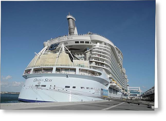 Greeting Card featuring the photograph The Oasis Of The Seas At Port Canaveral by Bradford Martin