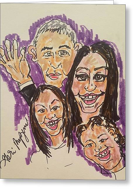 The Obama Family Farwell Tour  Greeting Card by Geraldine Myszenski