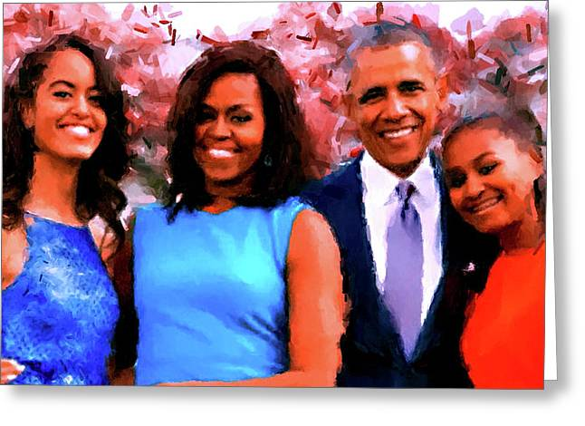 The Obama Family Greeting Card by Ted Azriel