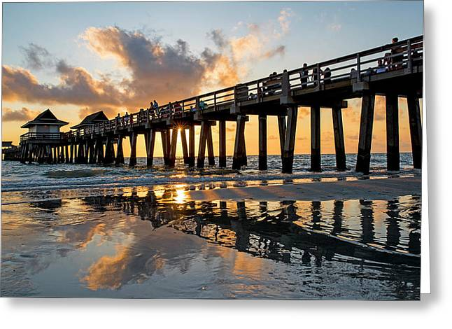 Naples Pier At Sunset Naples Florida Ripples Greeting Card