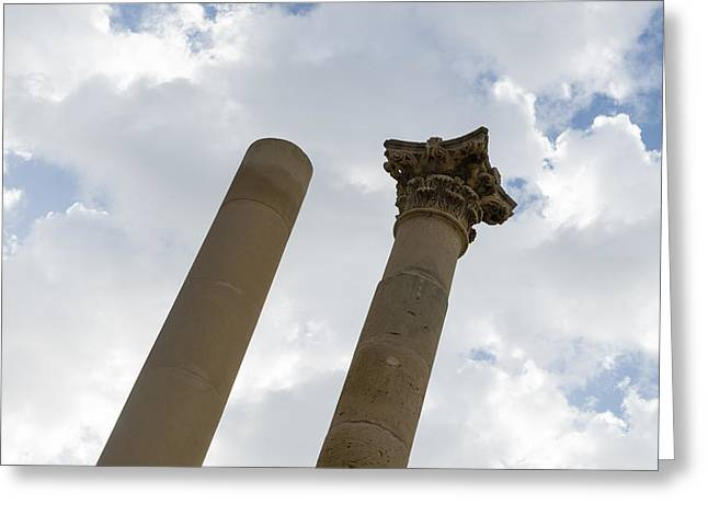 The Old And The New - Columns At The Open Air Theatre Valletta Malta Greeting Card by Georgia Mizuleva