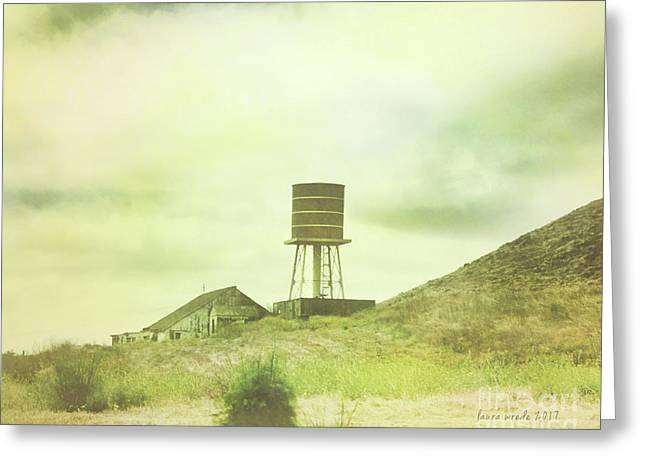 The Old Barn And Water Tower In Vintage Style San Luis Obispo California Greeting Card