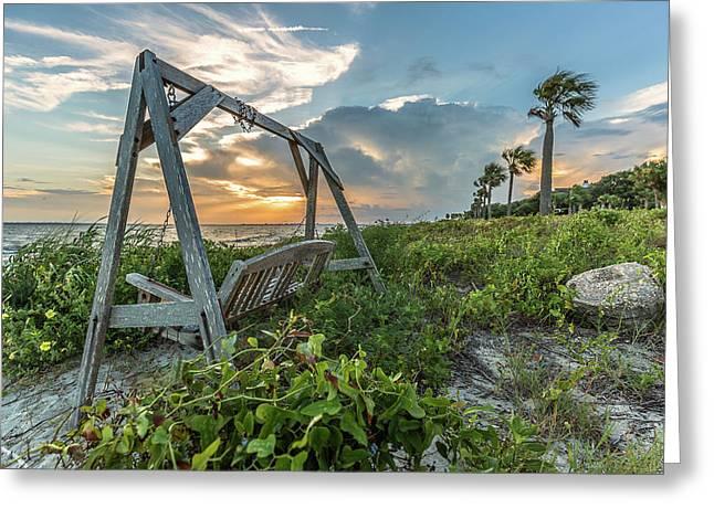 The Old Beach Swing -  Sullivan's Island, Sc Greeting Card