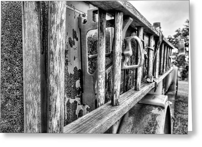 The Old Black And White Firetruck Greeting Card by JC Findley