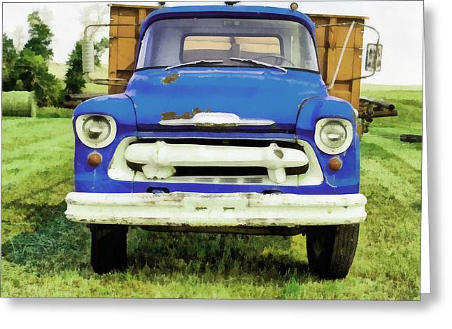 The Old Blue Farm Truck Painting Greeting Card by Edward Fielding