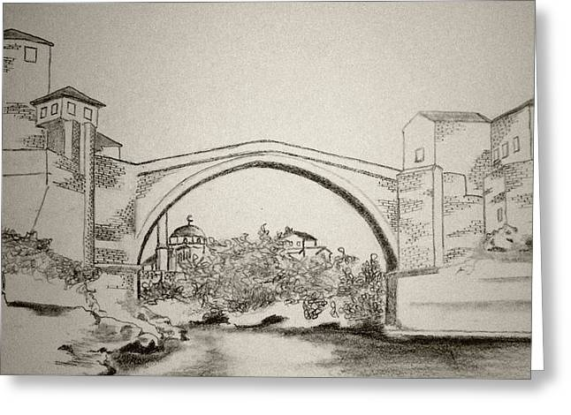 The Old Bridge In Mostar Greeting Card by Ramo Sabanovic