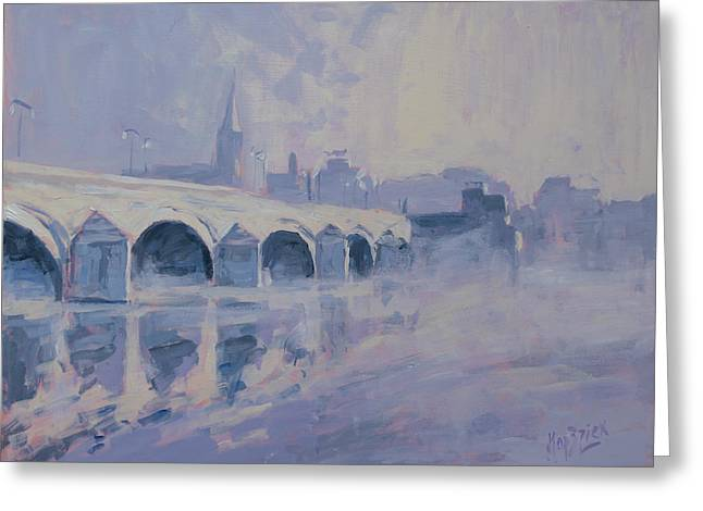 The Old Bridge Of Maastricht In Morning Fog Greeting Card by Nop Briex