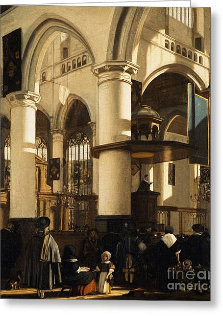 The Old Church, Delft, With Churchgoers Listening To A Sermon Greeting Card
