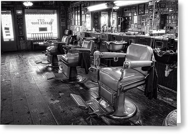 The Old City Barber Shop In Black And White Greeting Card